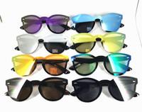 gafas de sol reflejadas al por mayor-OJO DE CICLISMO DE VERANO Nuevo gafas de sol siamesas redondas anti-UV de grado Grado Hombres mujeres moda reflejan gafas 2018 Gafas de sol UV400 8 colores RÁPIDO CALIENTE