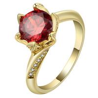 verlobungsringe rubin 18k gold großhandel-Neue Einzigartige Gold Farbe Engagement Exquisite Kubikzircon Ring Blätter Form Band Rubin Ring Größe 6-10 #