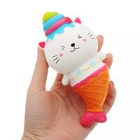 sevimli denizkızı oyuncağı toptan satış-2018 15 cm Sevimli Jumbo Kedi Kitty Mermaid Dondurma Squishy Yavaş Yükselen Yumuşak Sıkmak Kayış Kokulu Kek Ekmek Çocuk Oyuncak Eğlenceli Hediye