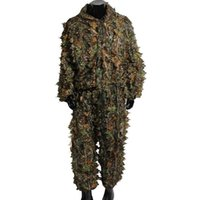 huellas de caza al por mayor-Caza Ghillie se adapta a la última versión 3D Maple Leaf Impreso Lino Caza Ropa Versión láser estéreo chaqueta y pantalones
