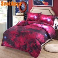 cama de espacio reina al por mayor-Svetanya Funda de almohada + Funda nórdica Conjuntos de ropa de cama 3d (sin sábanas) Doble tamaño Queen Doble Universo Espacio exterior Estilo de la ropa de cama