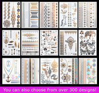 Wholesale metallic tattoo jewelry online - 15pcs Temporary Waterproof Flash Tattoos Non toxic Metallic Tattoo Hot Sale Women Tattoo Jewelry And Body Tattoo
