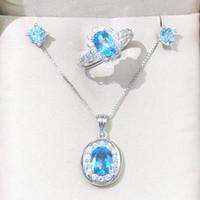 ensembles de bijoux en cristal dames achat en gros de-Collier pendentif ovale Halo Ring Boucles d'oreilles 3pcs / Set Femme Lady Trendy Jewelry Naturel Real Blue Topaz Gemstone Crystal Jewels