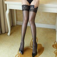 горячая сексуальная талия оптовых-Sexy Stockings Hot Women Black Thigh High Waist Gloss Silk Overknee Stockings Erotic Lingerie Plus Size Stocking Sex Product