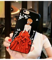 Wholesale iphone shell diamond red for sale – best New phone Case Red Painted Embossed With Diamond Phone Shell Female Models For Iphone X Plus