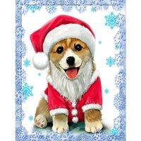 tierkreuzkarten großhandel-Vollbohrer Diamant Malerei Hund Kreuzstich Strass Mosaik Diamant Hunde Weihnachtskarten Stickerei Kinderzimmer Tiermalerei
