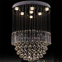 Wholesale foyer lighting semi flush - LED Flush Mount Modern Lustres Crystal Chandelier Ceiling Lighting Fixtures Dia60*H100cm Foyer Lights Large Spiral Lamp For Living Room