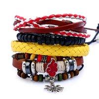 pu diy armbänder großhandel-Chaomo handgefertigte DIY-Set mehrschichtigen Schmuck Vintage gewebt Damen PU Hanf Leder Armband Rock Geschenk