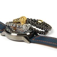 coole kupferschmuck großhandel-1 STÜCKE Neue Design Schmuck 6mm Hohe Qualität überzogene Kupfer Perlen Mit Edelstahl Löwenkopf Tier Armband Für Coole Männer