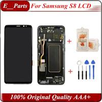 touch samsung lcd großhandel-(100% original) für samsung s8 lcd mit rahmen ersatz für samsung galaxy s8 g950 g950f display s8 plus g955 g955f touchscreen digitizer