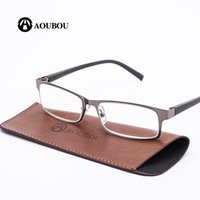 Wholesale read steel - AOUBOU Brand High-end Business Reading Glasses Men Stainless Steel PD62 Glasses Ochki 1.75+3.25 Degree Gafas De Lectura AB002