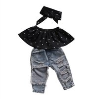 Wholesale Wholesale Wrap Pants - Fashion Kid Baby Girls Clothes Set 3pcs Dot Wrapped Chest Top Vest Ripped Hole Jeans Pants Headband Outfits Casual Clothing Sets
