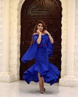 vestido largo de capa al por mayor-Vestidos de fiesta Royal Blue Full Lace Arabia Saudita Cape Style Sirena Tea Length Vestidos de fiesta formal Vestidos formales elegante noche personalizada