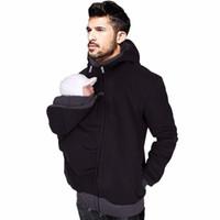 Wholesale silver winter coats for men - Spring Baby Carrier Hoodies For Dad Men's Kangaroo Jackets With Zipper Coat Men Carry Baby Sweatshirt Black Winter Warm M-2XL