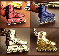 Wholesale skating pendants - 4PCs Mini Skate Shoes Model Keychain Roller Skates KeyChains Women Bag Charm Pendant Car Key Chain Ring Keyring Sports Goods Gift