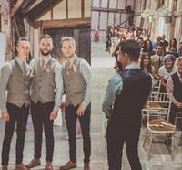 Wholesale natural linen suit online - Wool Groom Wedding Tweed Vests Custom Made Formal Groom s Suit Vest Slim Fit Waistcoat For Men Groom Wear Plus Size