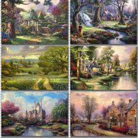 Wholesale art oil paintings scenery online - Exotic Mood Thomas Scenery Painting Micro Spray Home Decorative Frameless Oil Paintings Bedroom Wall Pictures Art High Grade qc3 Ww