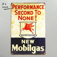 Wholesale Men Wall Decor - Vintage wall decor Mobil gas Metal Tin Sign for Man Cave Garage Decor Guy gifts