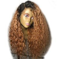 Wholesale ombre kinky straight wig online - 150 Ombre Blonde Dark Roots Full Lace Human Hair Wigs Kinky Curly Pre Plucked Brazilian Remy Hair Lace Wig