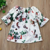 Wholesale American Girl Houses - Retail 2018 Spring Girls Dress Houses Tree print Flare sleeve Princess Dress 1-5Y SH036