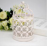 kleine metallvögel großhandel-Metall Vogelkäfig Kerzenhalter weiße Laterne Marokko Vintage kleine Laternen für Kerzen Dekor Hochzeit Dekoration