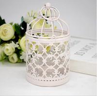 ingrosso piccole lanterne bianche-Portacandele in gabbia di metallo Lanterna bianca Marocco Lanterne piccole vintage per candele Decorazione per la casa