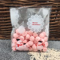 Wholesale Merry Christmas Baking - Wholesale- 50pc  lot Christmas snowman Merry Christmas Cookie packaging self-adhesive plastic bags for biscuits snack baking 10X11cm