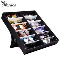 Wholesale eyeglasses rack - Mordoa 12Pcs Glasses Storage Display Case Box Eyeglass Sunglasses Optical Display Organizer Frames Tray 3d Glasses Display Rack