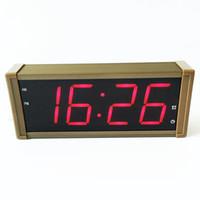 Wholesale large plug metal - Large display LED digital alarm clock with metal shell EU plug for free electronic calendar desktop clock LCD table
