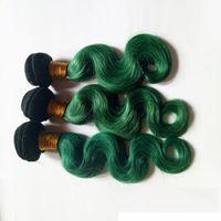 penas brasileiras venda por atacado-Moda Womens Pena Brasileira cabelo Virgem tece trama ombre cabelo de Natal 1B / verde Não Transformados 8-30 polegada extensão do cabelo humano indiano