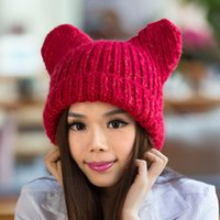 Wholesale big girls stockings for sale - Group buy 2018 Knitted Hats for Women Cartoon Big Ears Beanie Hat Cap for Girls Wool Hat Female Skullies Stocking Hats Gorros