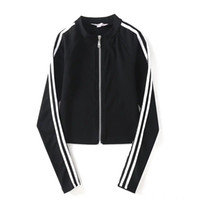 Wholesale cardigan tee for sale - Group buy Women Sexy Cardigan Long Sleeve Tshirts Woman Panelled Black White Striped Jackets Womens Blouses Tees Outerwear Tops