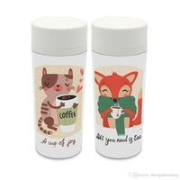 Wholesale personalized cat gifts for sale - Personalized Modern Animals Coffee Tea Cup With Lid BPA Free Plastic Insulated Kawaii Cat Fox Cute Kids Water Bottles ml Gift