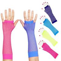 Wholesale white net gloves resale online - Bride wedding party half finger long net gloves Bridal Gloves