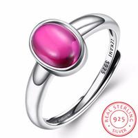 echte rote steine groihandel-INALIS Echt Solide 925 Sterling Sier Justierbarer Ring Für Frauen Oval Corundum Red Halbedelstein Modeschmuck