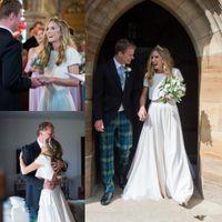 Wholesale two piece satin wedding dress vintage for sale - Two Pieces A line Wedding Dresses Short Sleeve Satin Custom Made Bridal Wedding Gowns Bride Dresses