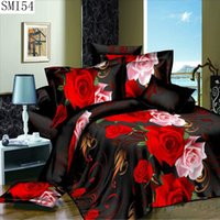 Wholesale Red Black Rose Sheets - Wholesale- 3d series bedding set the queen size polyester fabric include pillowcase duvet cover bed sheet fast delivery
