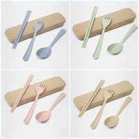 Wholesale colorful knives for sale - Group buy Portable Camping Tableware Exquisite Eco Friendly Dinnerware Sets Natural Spoon Fork Chopsticks Creative Colorful Wheat Straw Set mh jj