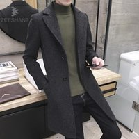 Wholesale Mens Brown Wool Winter Coat - ZEESHANT 2017 New Fashion Long Trench Coat Men Winter Mens Overcoat Thick Trench Plus Size Coat Male Jacket Casacos Masculino