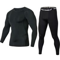 camisa musculosa negra manga larga al por mayor-Lo nuevo Pure Black Fitness Compression Sets Camiseta Hombres mangas largas MMA Crossfit Muscle Shirt Polainas Capa Base ajustado