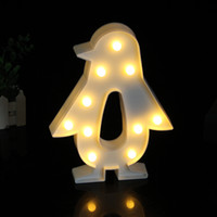 Wholesale penguin night light - Cute Penguin LED Night Light Wall Lamp Battery Operated Luminaria Desk Lamp For Kids Gift Party Home Room Decorations
