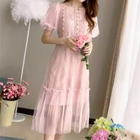 robe d'automne korea achat en gros de-Corée Mode Automne Sexy Dentelle Femmes Dress Vintage Élégant Mesh Dames Dress Casual À Manches Courtes Parti Vestidos Mujer