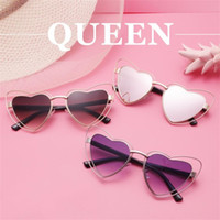 Wholesale Decorative Metal Hearts - Cute Love Heart Shaped Sunglasses Metal Frame Ultraviolet Proof Spectacles Decorative Protect Eye Spectacles For Woman 15 5gf Y