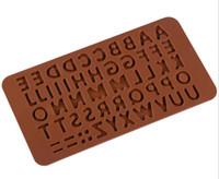 molde de feliz cumpleaños al por mayor-100 unids 3D Doble 26 Letras Forma O 0-9 Numers Moldes de Chocolate Feliz Cumpleaños Palabras Pastel Moldes de Pudín Postre Decoración