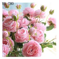 красные садовые цветы оптовых-оптовые 15 голов белые пионы искусственные цветы красная роза шелковый свадебный цветок розовый пион букет поддельные украшения сада цветов