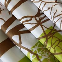 cortinas con dibujos modernos al por mayor-Cortinas de ducha de patrón de plantas modernas Cortina de baño impermeable Cortina de baño ecológica de poliéster 12 ganchos