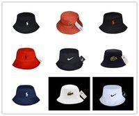 Wholesale Womens Hats Wide Brim - Designer Leather polo Bucket Hat For Mens Womens Foldable Fishing Caps Black Fisherman Beach Sun Visor Sale Folding Man Bowler Cap