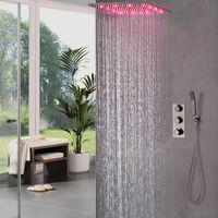 "Wholesale 16 shower head - Thermostatic Brass Black Faucets 16"" Rain Shower Head Shower Set Diverter Mixer Valve orb Bathroom LED Shower System"