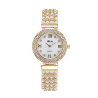 quarzuhr stahl zurück wasserdicht großhandel-Natur Perle Uhr Frauen Berühmte Marke Edelstahl Zurück Wasserdicht Gold Uhr Quarz Diamant Uhr Frauen