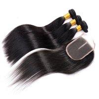 satılık örgü örtüleri toptan satış-Düz Saç demeti ve kapatma Örgüleri Uzantıları 3 Paketler 4 x 4 Dantel Kapatma İşlenmemiş doğrudan satış ile fabrika